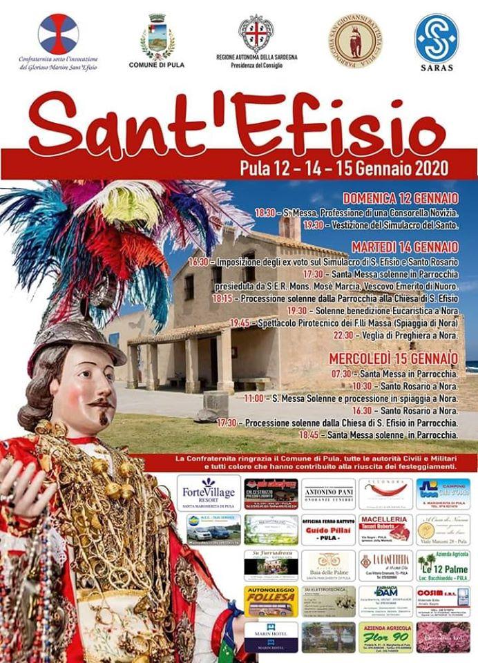 Celebrazioni del Martirio di Sant'Efisio 2020 a Pula: 12, 14 e 15 gennaio