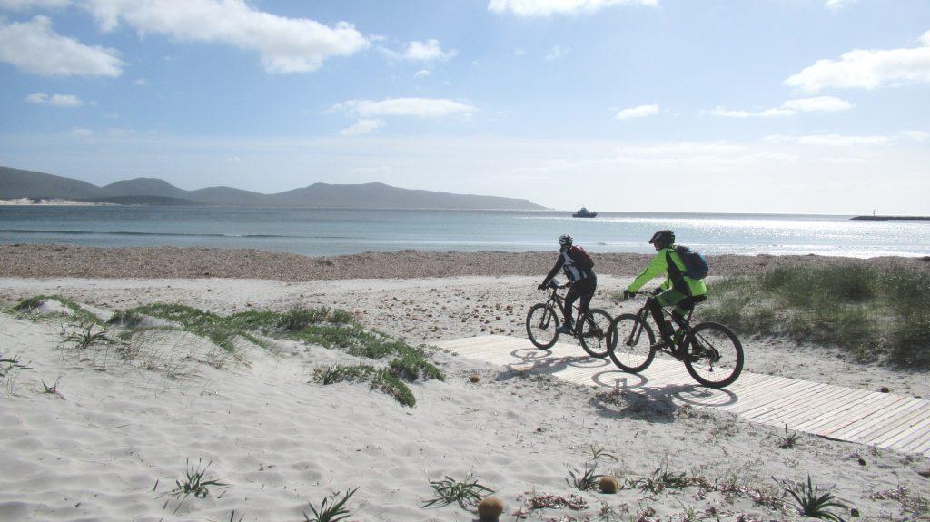 L'arrivo nella spiaggia di Porto Pino con le sue caratteristiche dune di sabbia bianca e finissima e i gigli di mare.